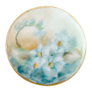 Antique porcelain button hand painted blue florals