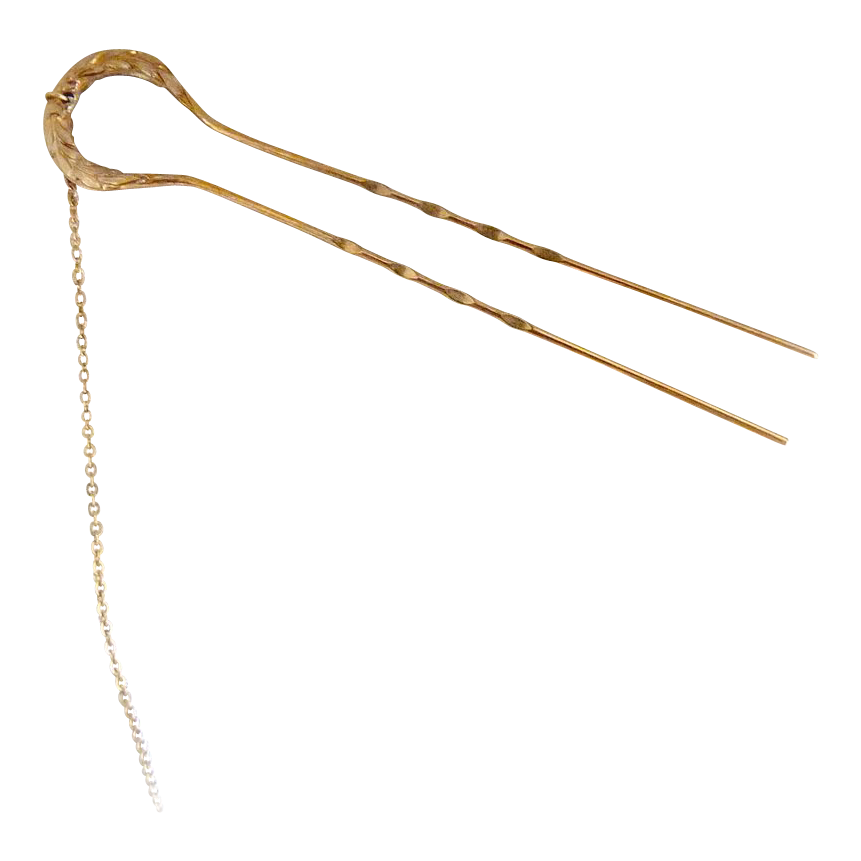 Antique hair pin gold with chain pince nez pin