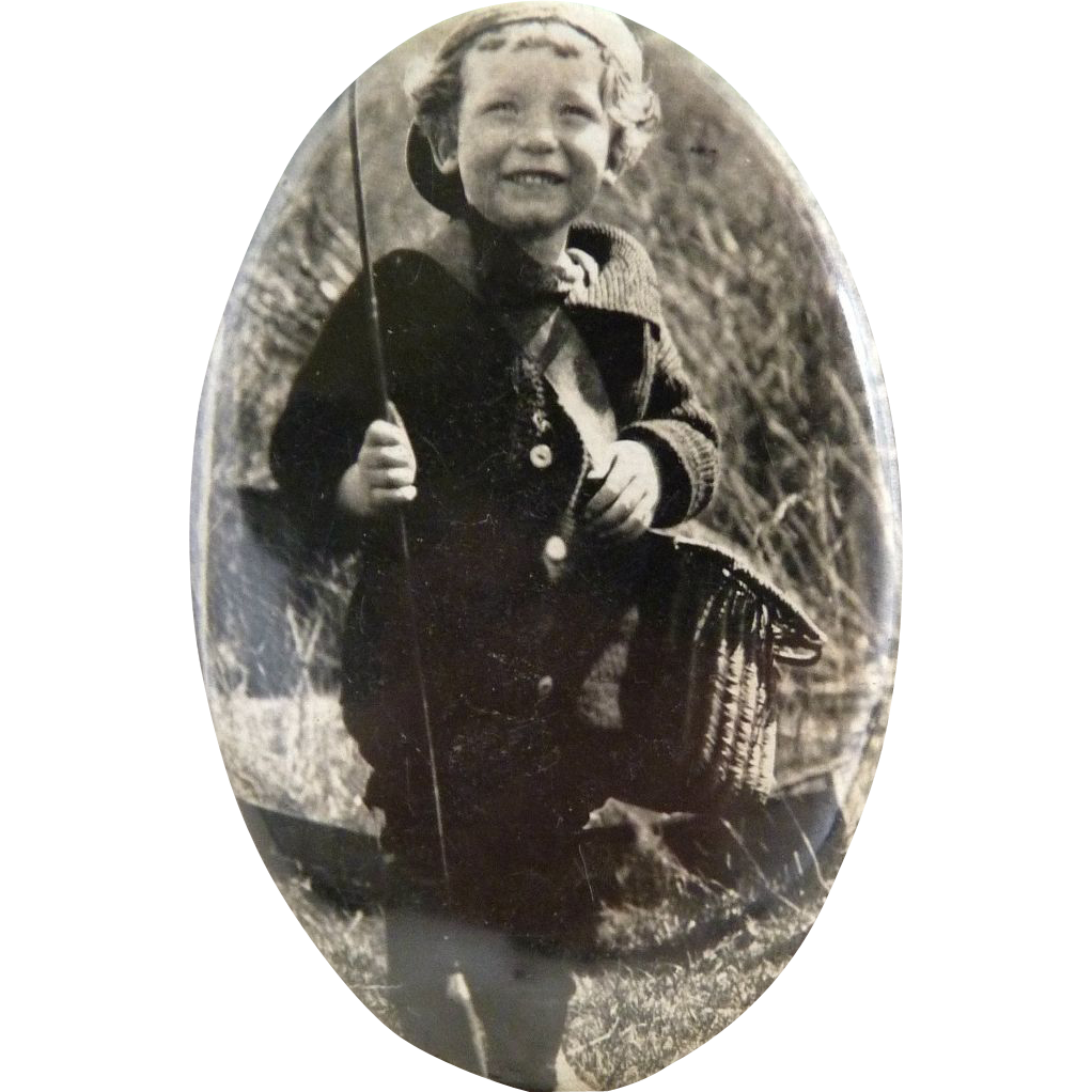 Vintage pocket purse mirror oval young boy fishing 1920s
