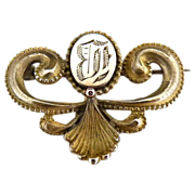 Victorian ladies watch pin B monogram c. 1880s