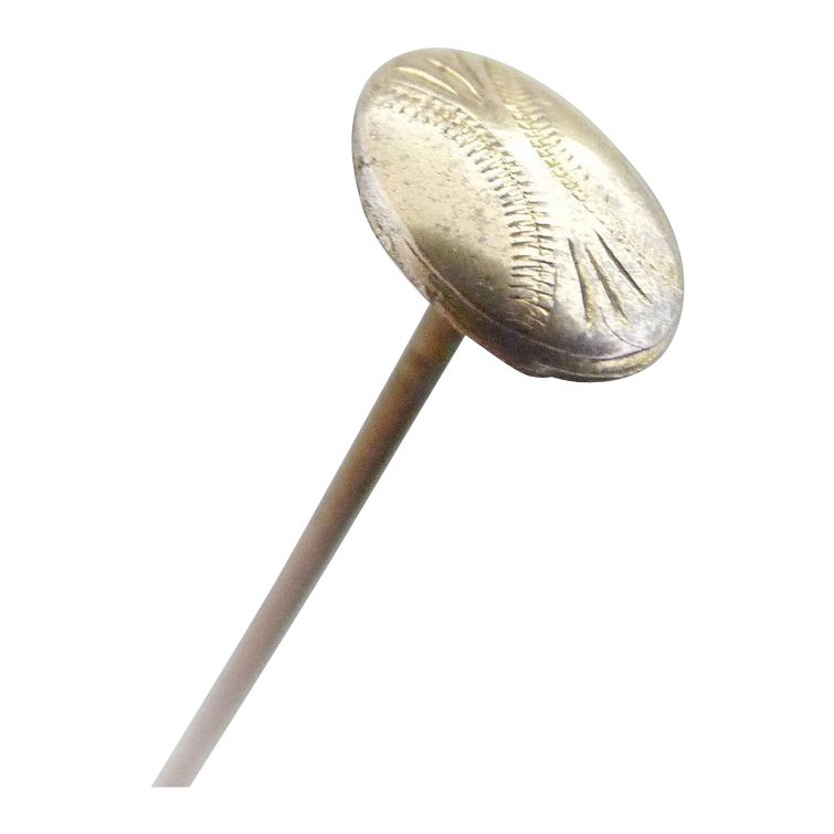 Antique hat pin chased head Gold Top