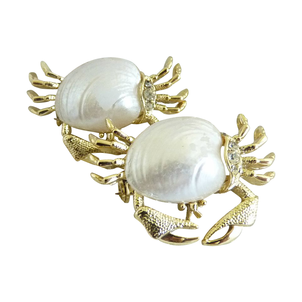 Vintage crab scatter pins authentic shell body Gerry's set of 2