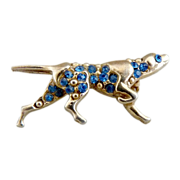 Vintage pin pointer dog figural brooch blue rhinestones