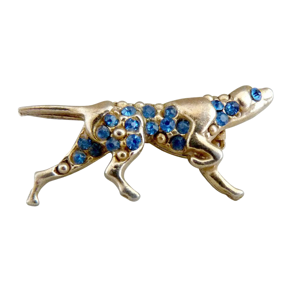 Vintage pin pointer dog figural brooch blue rhinestones