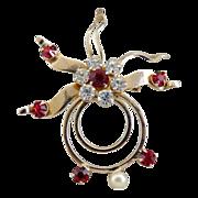 Vintage brooch pendant sun moon red rhinestones pearl celestial
