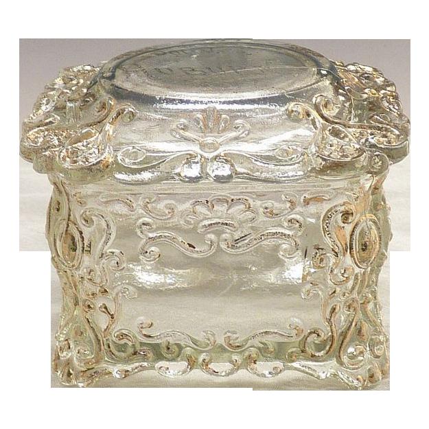 Victorian glass dresser jar souvenir Auburn, NY c. 1900