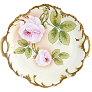 Antique porcelain platter cake plate American Beauty roses signed Royal Munich