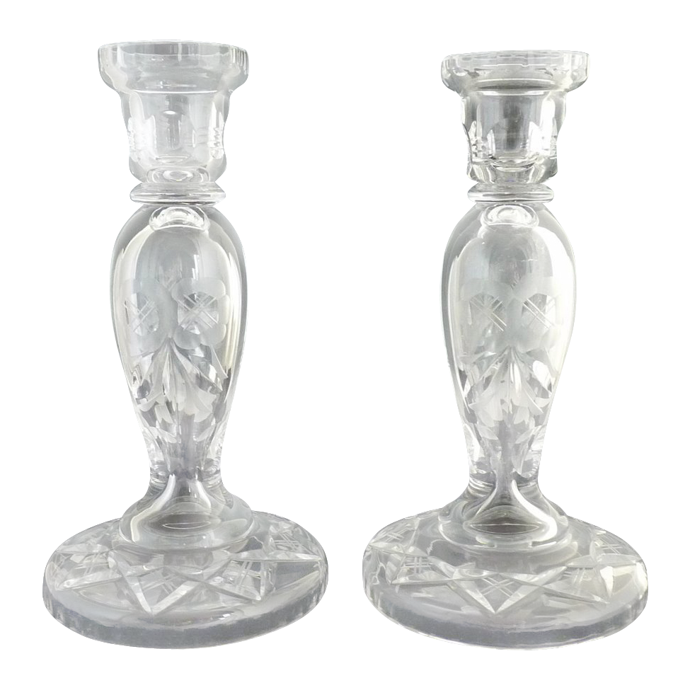 Vintage cut glass candlesticks etched roses