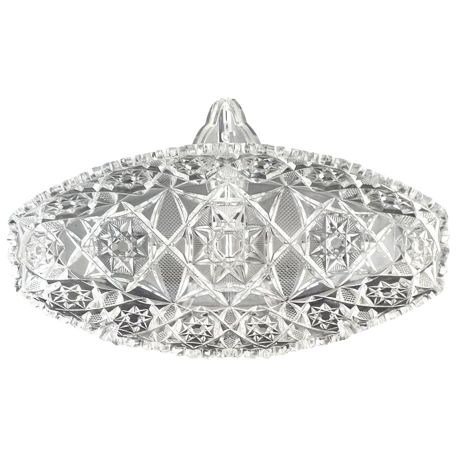 Vintage glass celery dish Star of David pattern