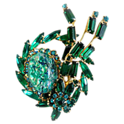 Julianna brooch green speckled cabochon navette rhinestones DeLizza Ester