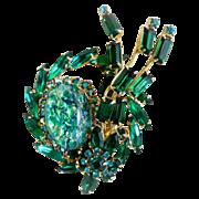 Julianna brooch green speckled cabochon navette rhinestones DeLizza Ester
