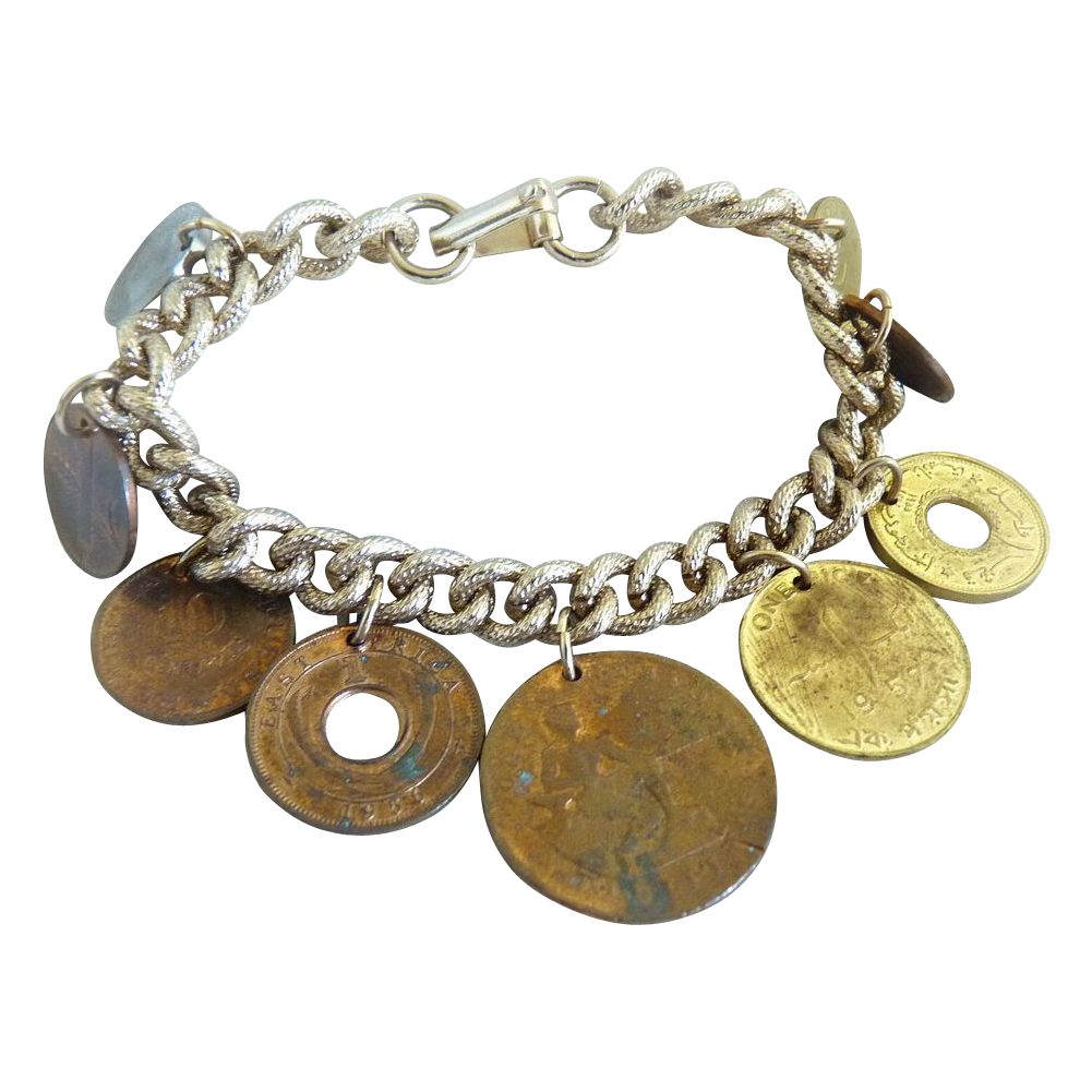 Vintage coin charm bracelet International 1958 One Centavo Filipinas Philippines center coin