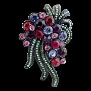 Vintage brooch pendant black enamel pink rhinestones Fireworks