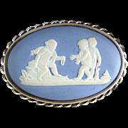 Vintage Wedgwood cameo brooch sterling cherubs at play