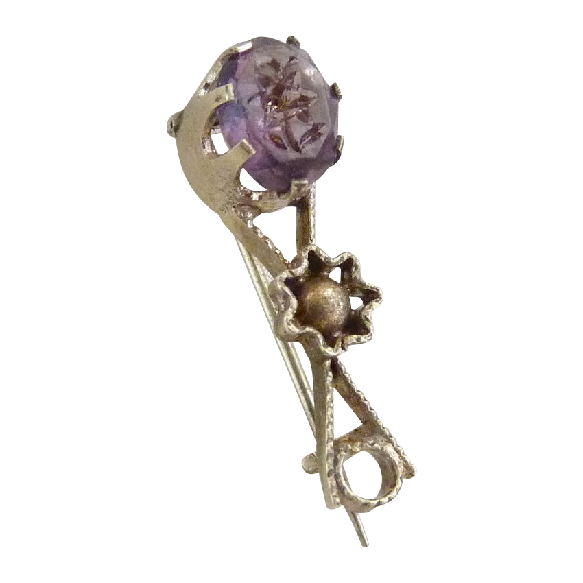 Antique amethyst glass pin intaglio flower