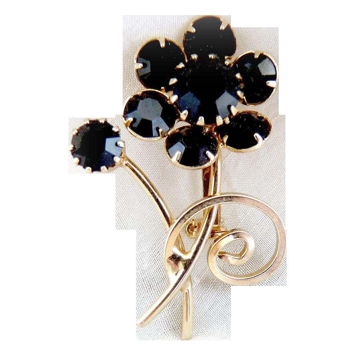 Vintage flower brooch jet black rhinestones