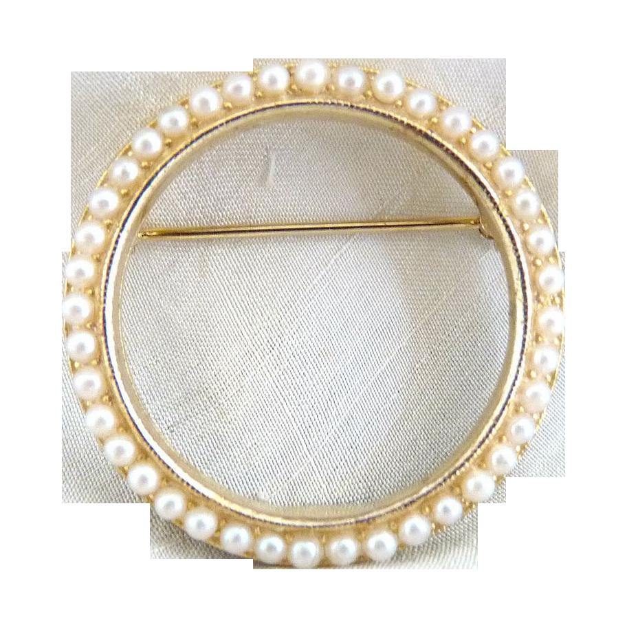 Vintage brooch seed pearl wreath Mimi Di Niscemi