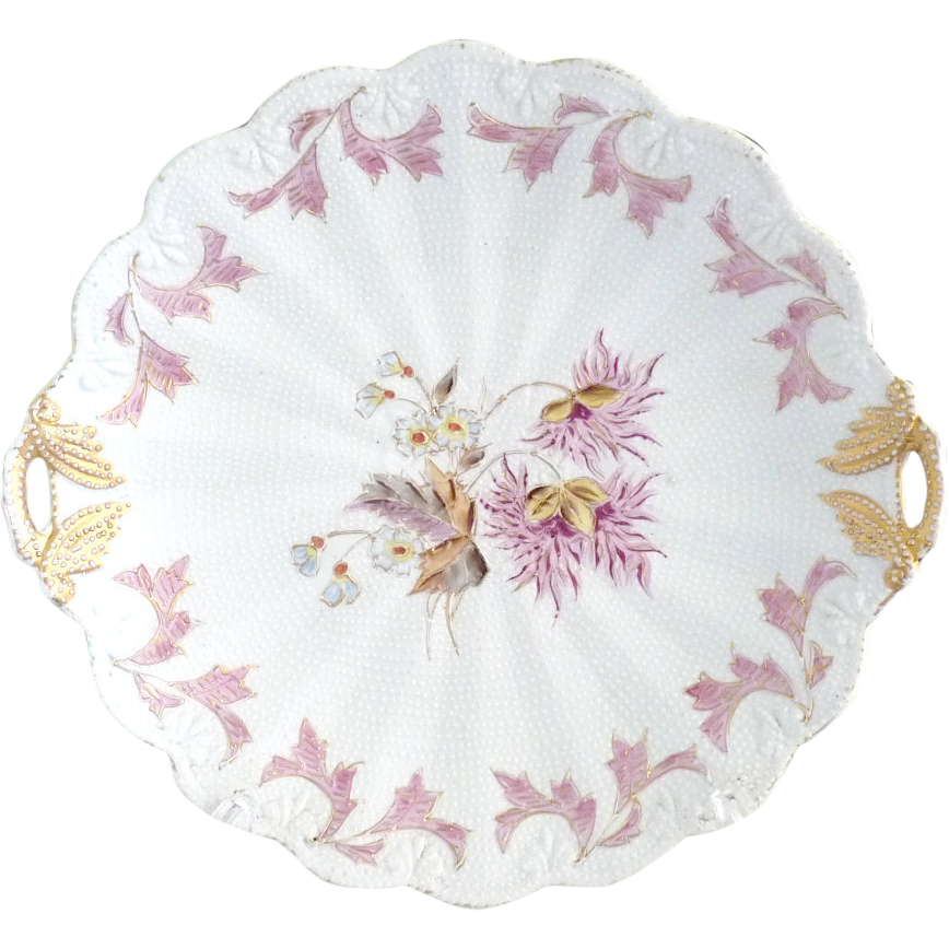 Antique porcelain cake plate raised dot R.S. Prussia Book Piece c. 1880s