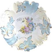 Antique  R.S. Prussia porcelain bowl leaf swirl mold lilacs 1890s