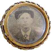 Antique gem tintype photo pin Gentleman with bowler hat c. 1860s