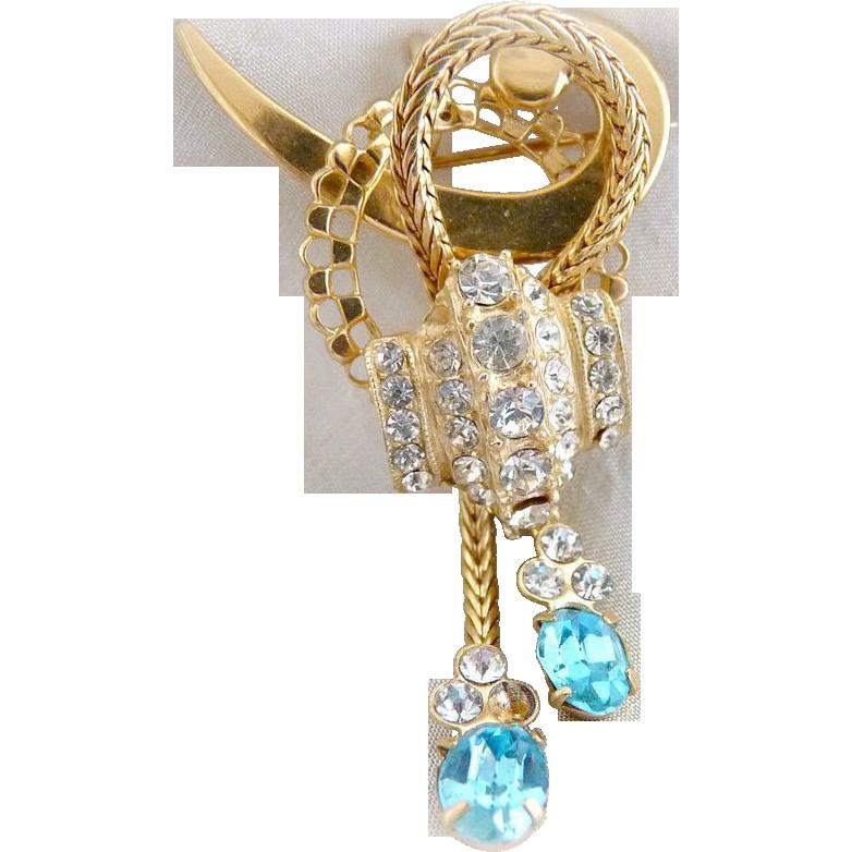 Vintage brooch pendant lariat ice blue crystal rhinestones Western