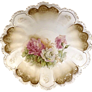 Prussia porcelain bowl white pink roses book piece