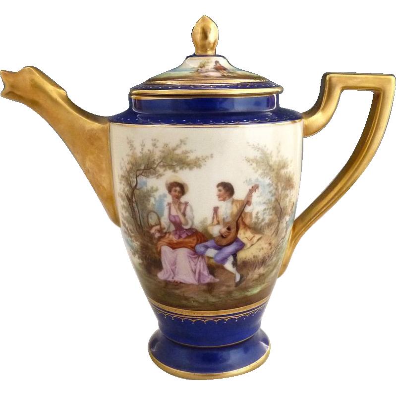 Antique porcelain teapot portrait Vienna Austria c. 1901