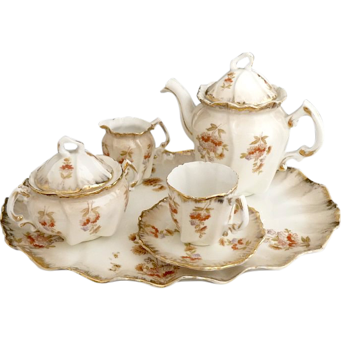 Antique fine porcelain tea set petit de jeurner Austria c. 1880s