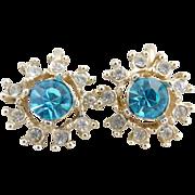 Vintage earrings blue crystal rhinestone snowflake