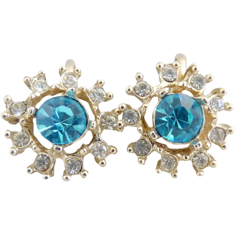 Vintage earrings blue crystal rhinestone snowflake