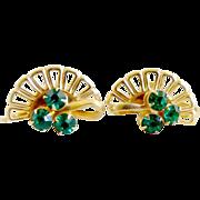 Vintage fan earrings screwback green rhinestones