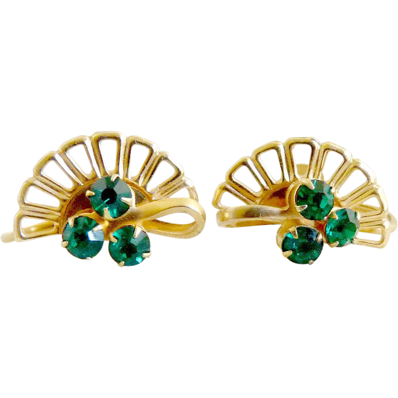 Vintage fan earrings screwback green rhinestones