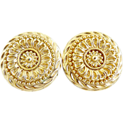 Vintage gold medallion earrings St. John