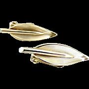 Vintage clip earrings leaf design Bergere c. 1940s