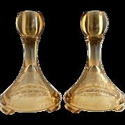 Fostoria engraved amber glass candlesticks Sunburg Pattern c. 1920s - Red Tag Sale Item