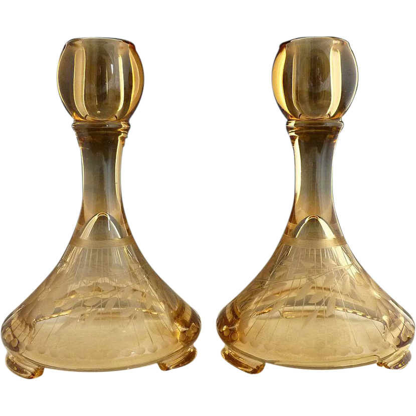Fostoria engraved amber glass candlesticks Sunburg Pattern c. 1920s