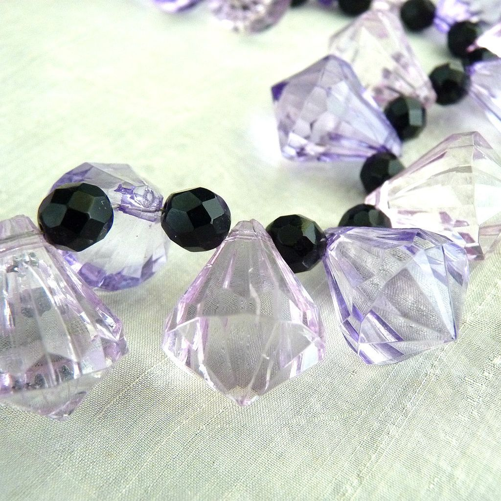 Vintage Lucite Necklace Lavender Teardrop Jet Beads From