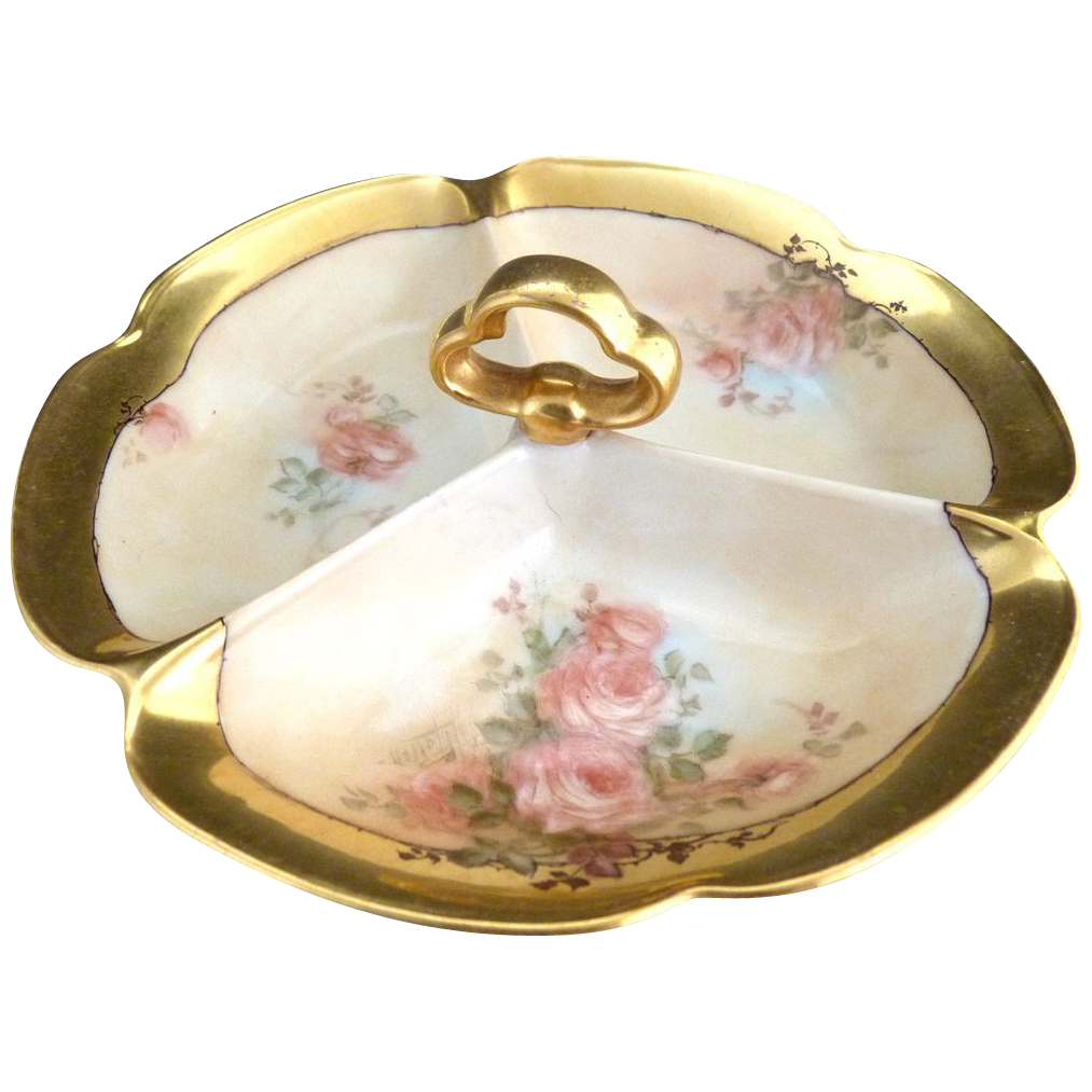 Vintage porcelain serving tray hand painted roses Japan c. 1920s