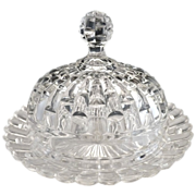 Vintage glass butter dish Westmoreland #15 pattern