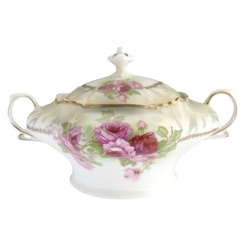 Antique porcelain cracker jar pink roses Bavaria c. 1900