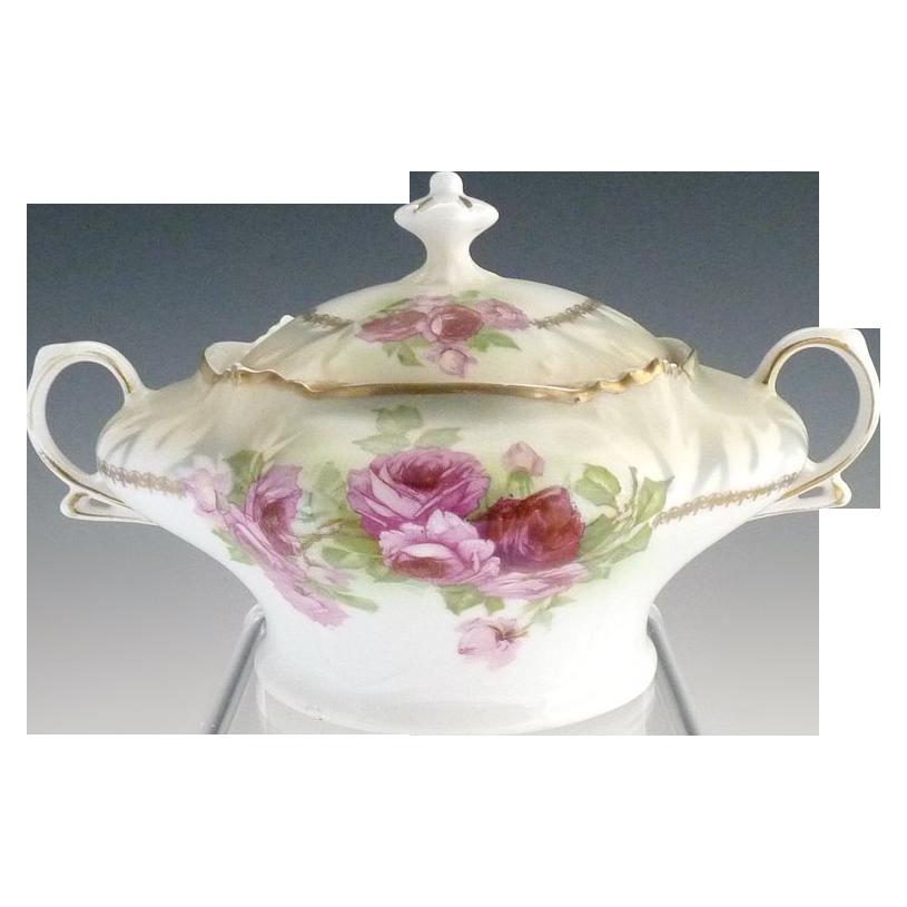 Antique porcelain cracker jar pink roses Bavaria c. 1900