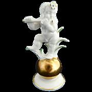 Bavaria porcelain K. Tutter figurine musical nude boy gold ball
