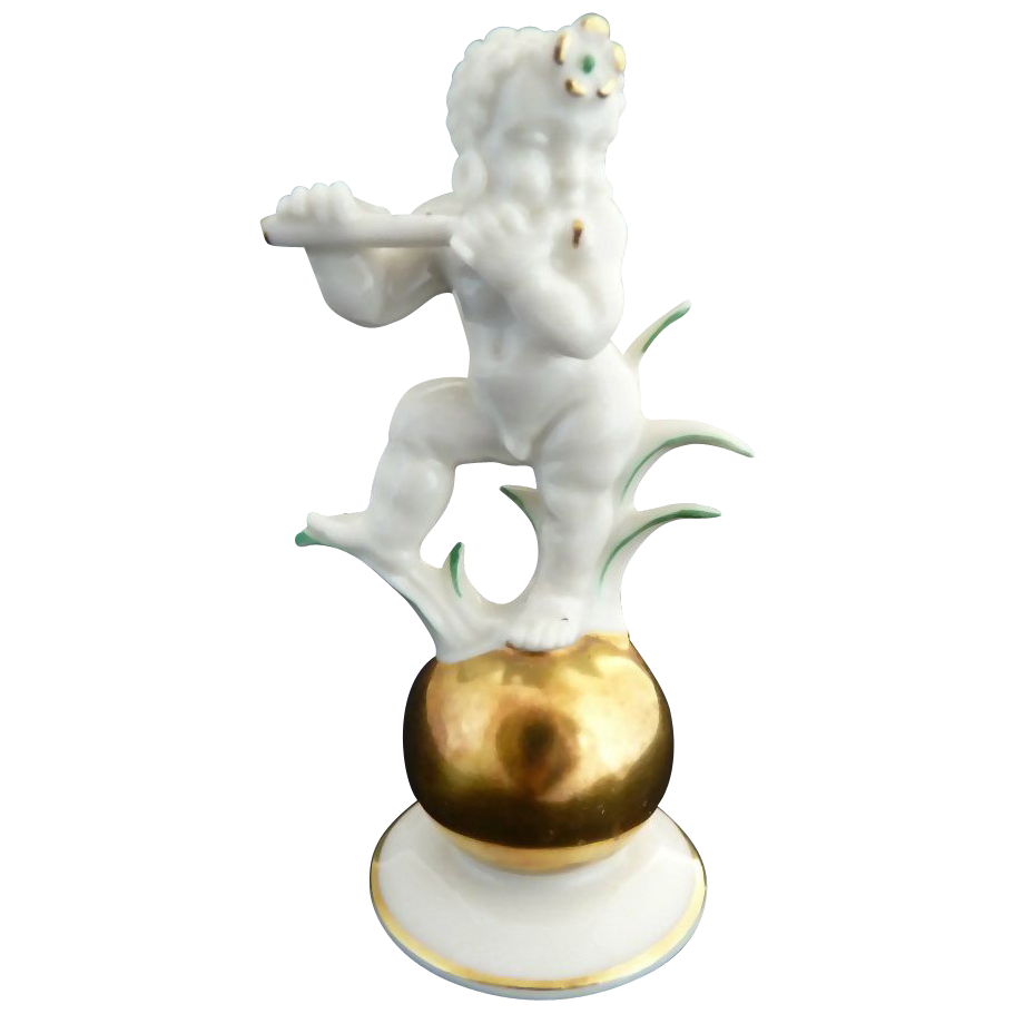 Bavaria porcelain K. Tutter figurine musical nude boy gold ball