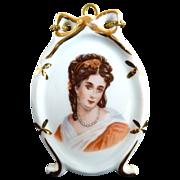 Vintage portrait plaque desk stand Limoges porcelain