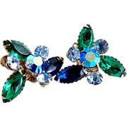 Vintage rhinestone earrings marquis blue green Aurora Borealis