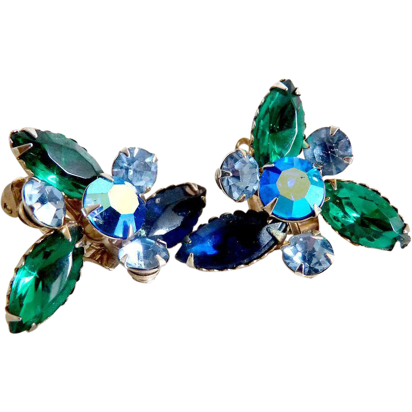 Vintage rhinestone earrings marquis blue green Aurora Borealis