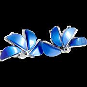 Vintage Coro lucite earrings blue silver clip half flower