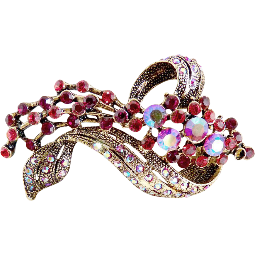 Vintage rhinestone coat pin japanned flowing flower