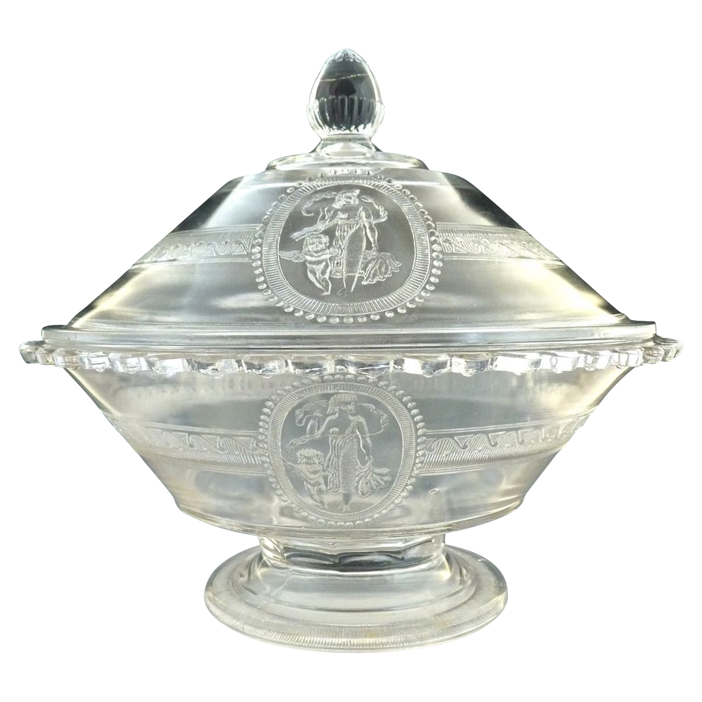 Antique glass covered berry bowl Cupid Venus Richards Hartley 1875