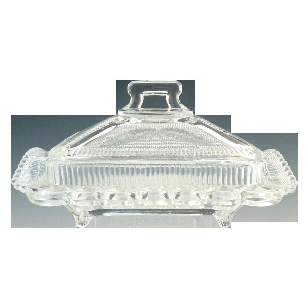 Antique glass honey dish butter Cooperative Flint crossed ferns Hanukkah